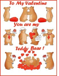 Valentine cards for kids Teddy bears love hearts