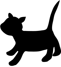 cat silhouette running kitten