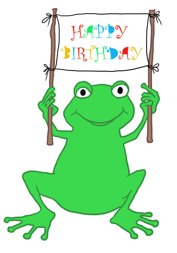 BIRTHDAY frog greeting