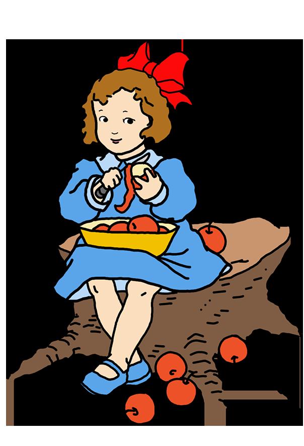 Girl at Thanksgiving peeling apples