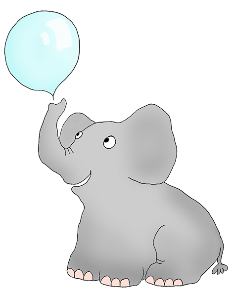 elephant blowing soap bubbles
