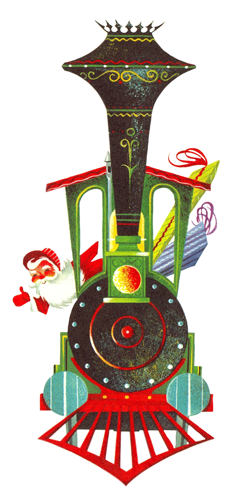 Vintage graphic of Christmas train