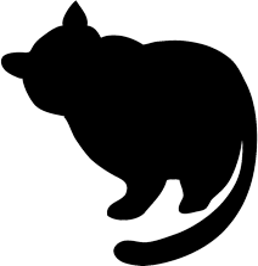 fat black cat silhouette