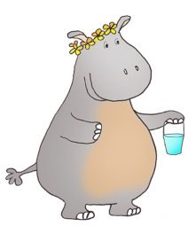 Hippo with blue bucket
