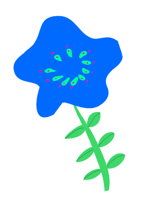 blue flower drawing for decoration