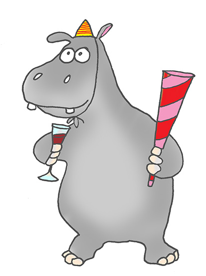 cartoon hippo party guy
