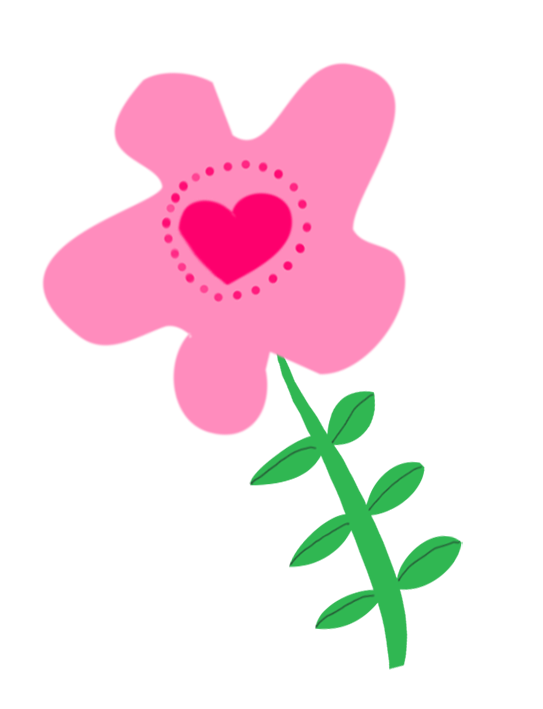 very pink flower drawing for scrapbooking