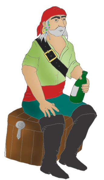 pirate picture with bottle