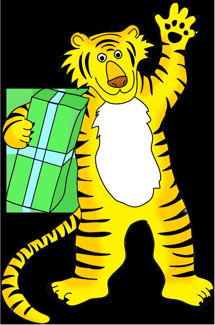 tiger cartoon with present