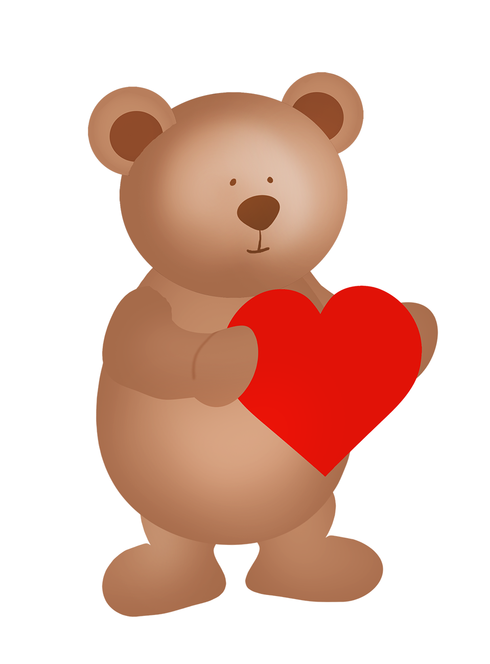 cute Valentine bear with red heart