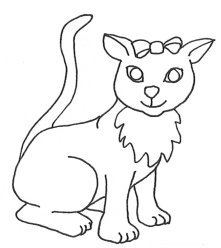 cat with big eyes drawing