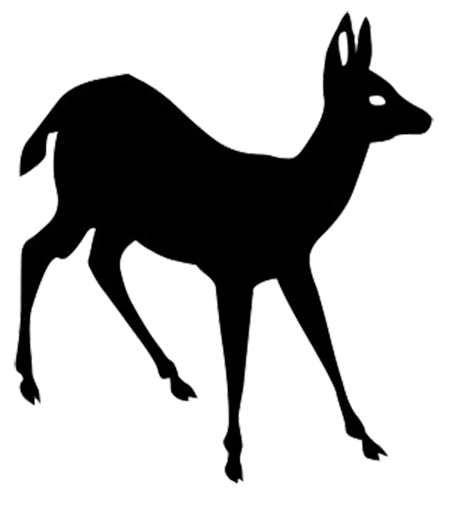 silhouette clipart of young deer