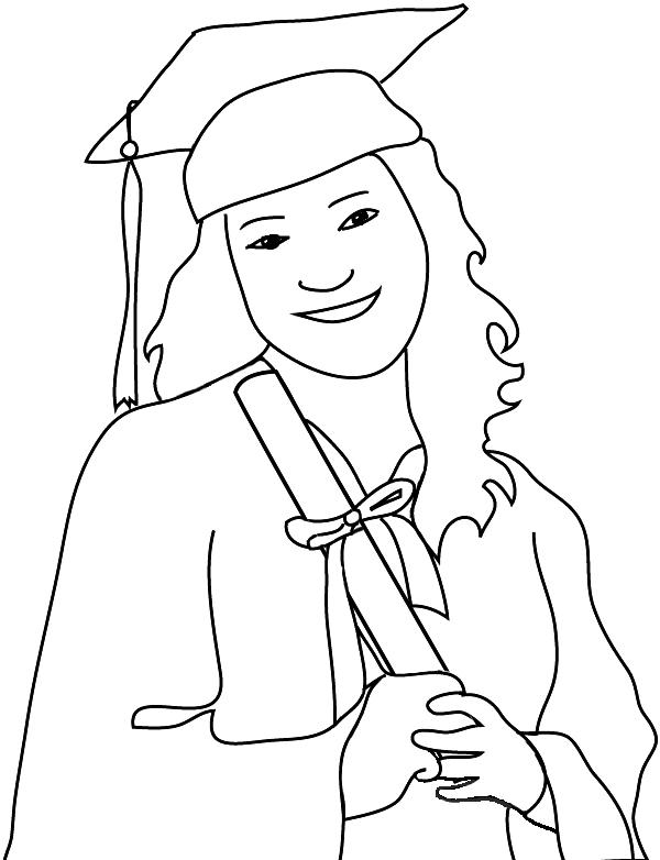 outline of graduation girl with diploma