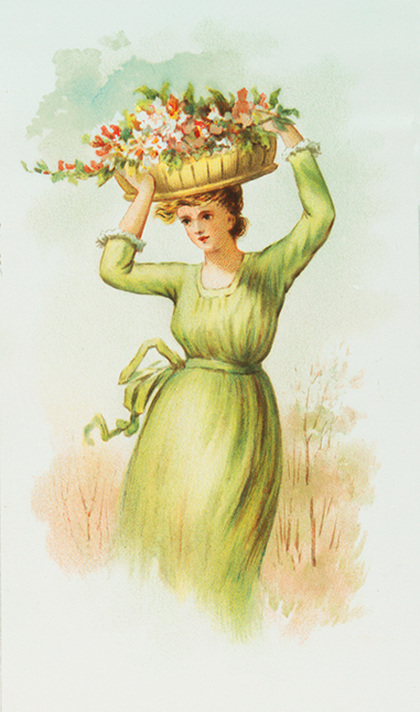 woman in summer with a basket with flowers