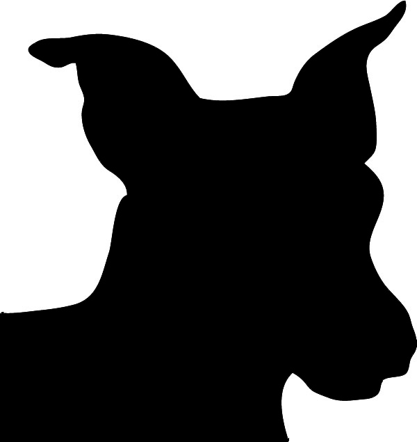 silhouette of friendly dogs head