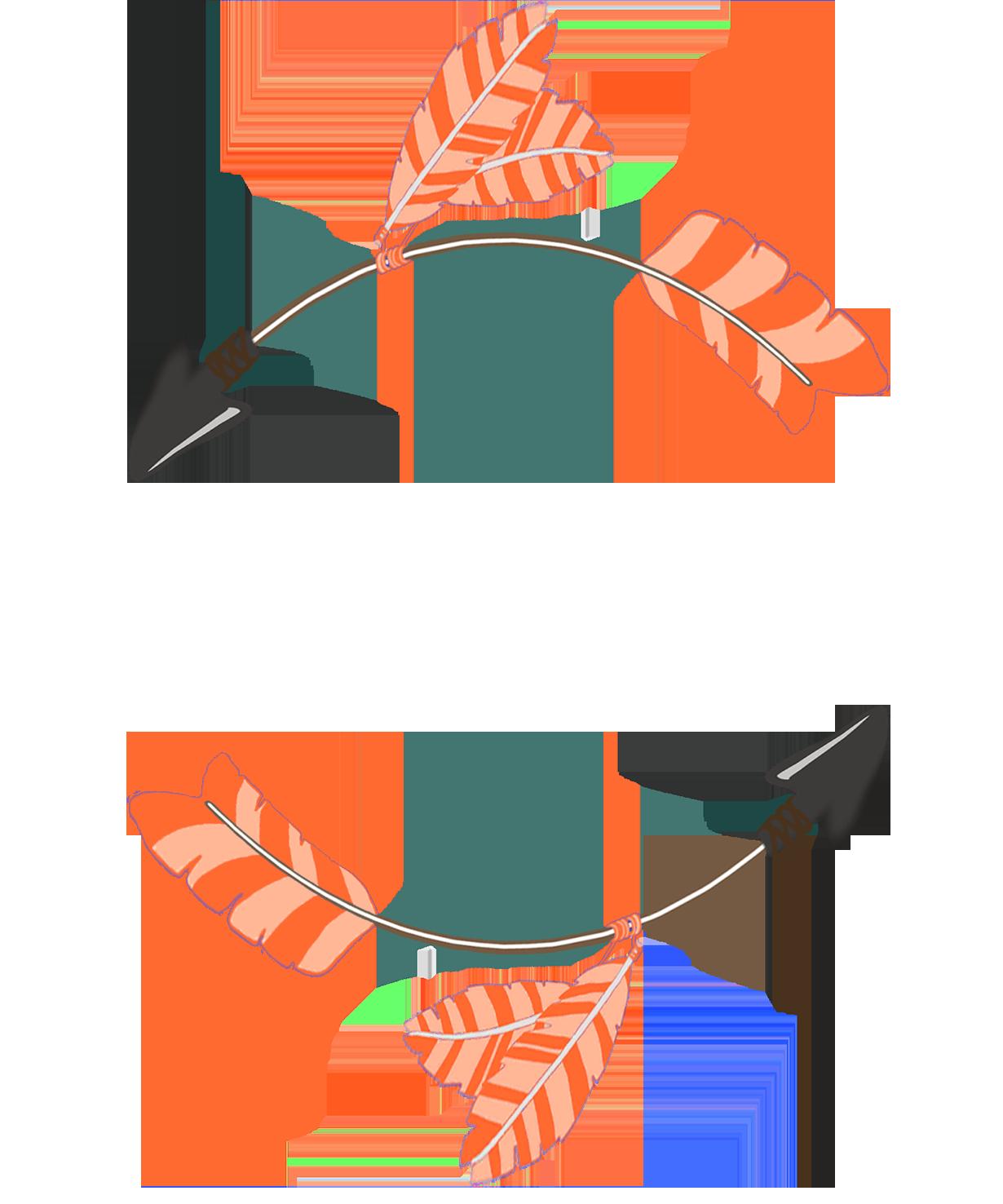 circle of orange tribal arrows