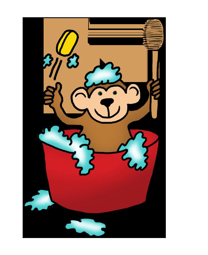 Monkey taking a bath