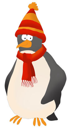 Penguin dressed for cold winter