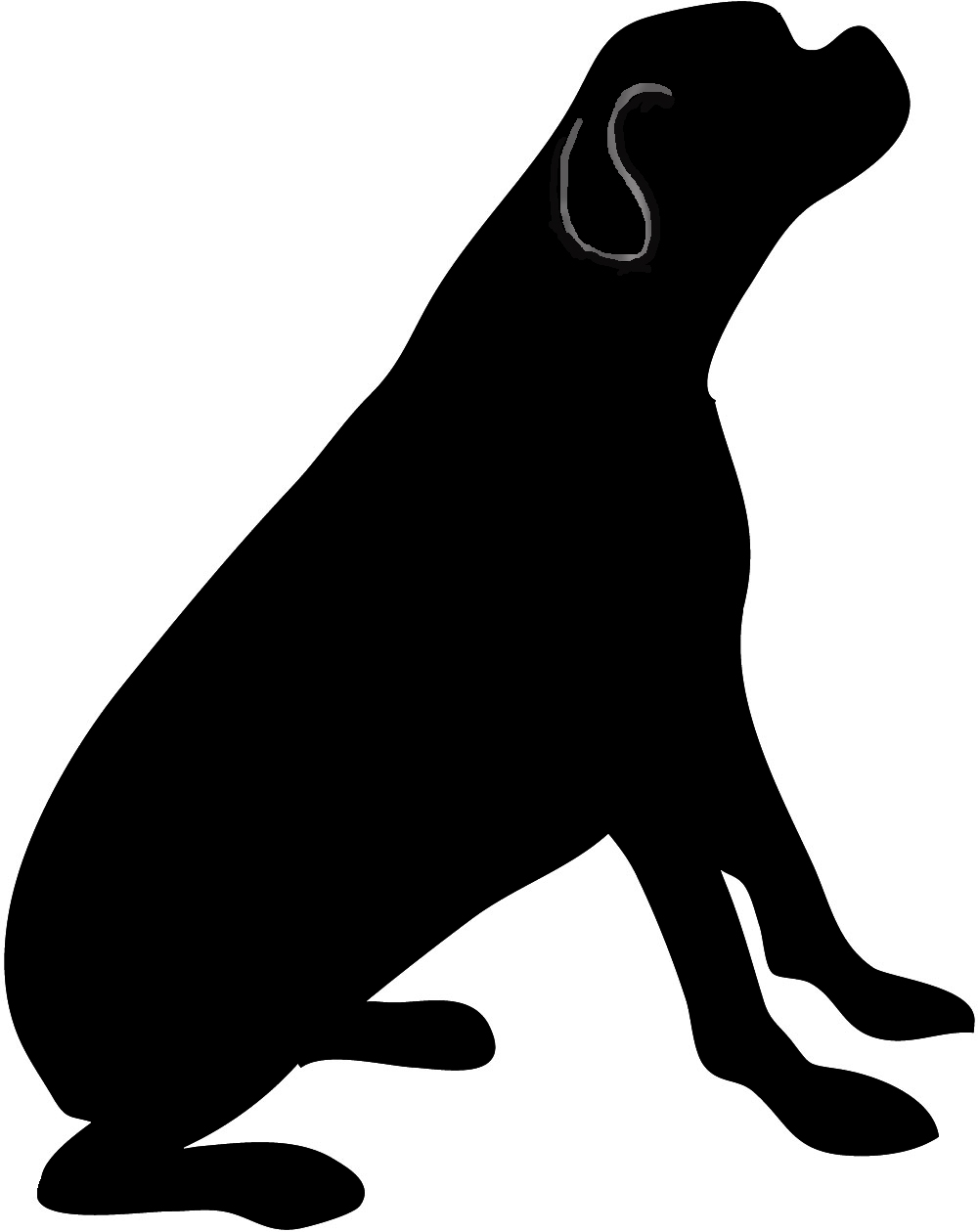 dog silhouette black white