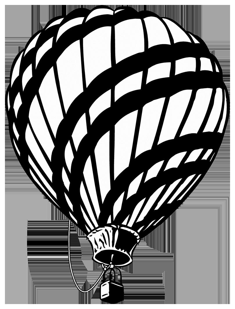 black white hot air balloon clipart