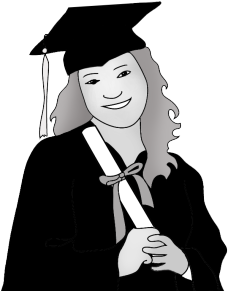 gray black clipart graduation girl with diploma