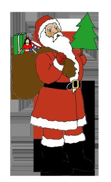 Santa clip art with sack and Christmas tree