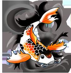 orange black koi fish black waves