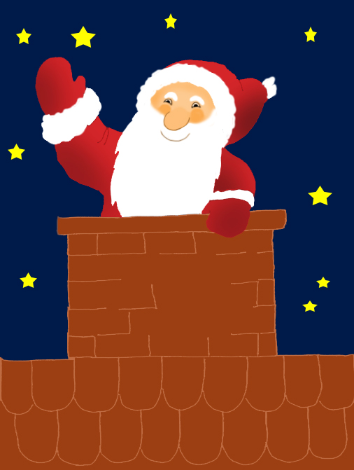Santa Claus clipart in chimney at night