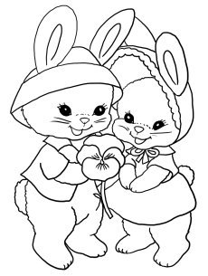 Coloring sheet for Easter two bunnies