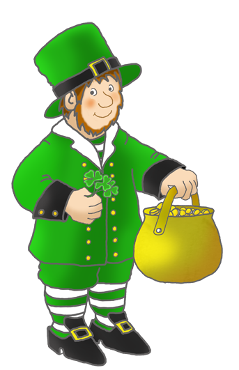 cute leprechaun with shamrock pot of gold