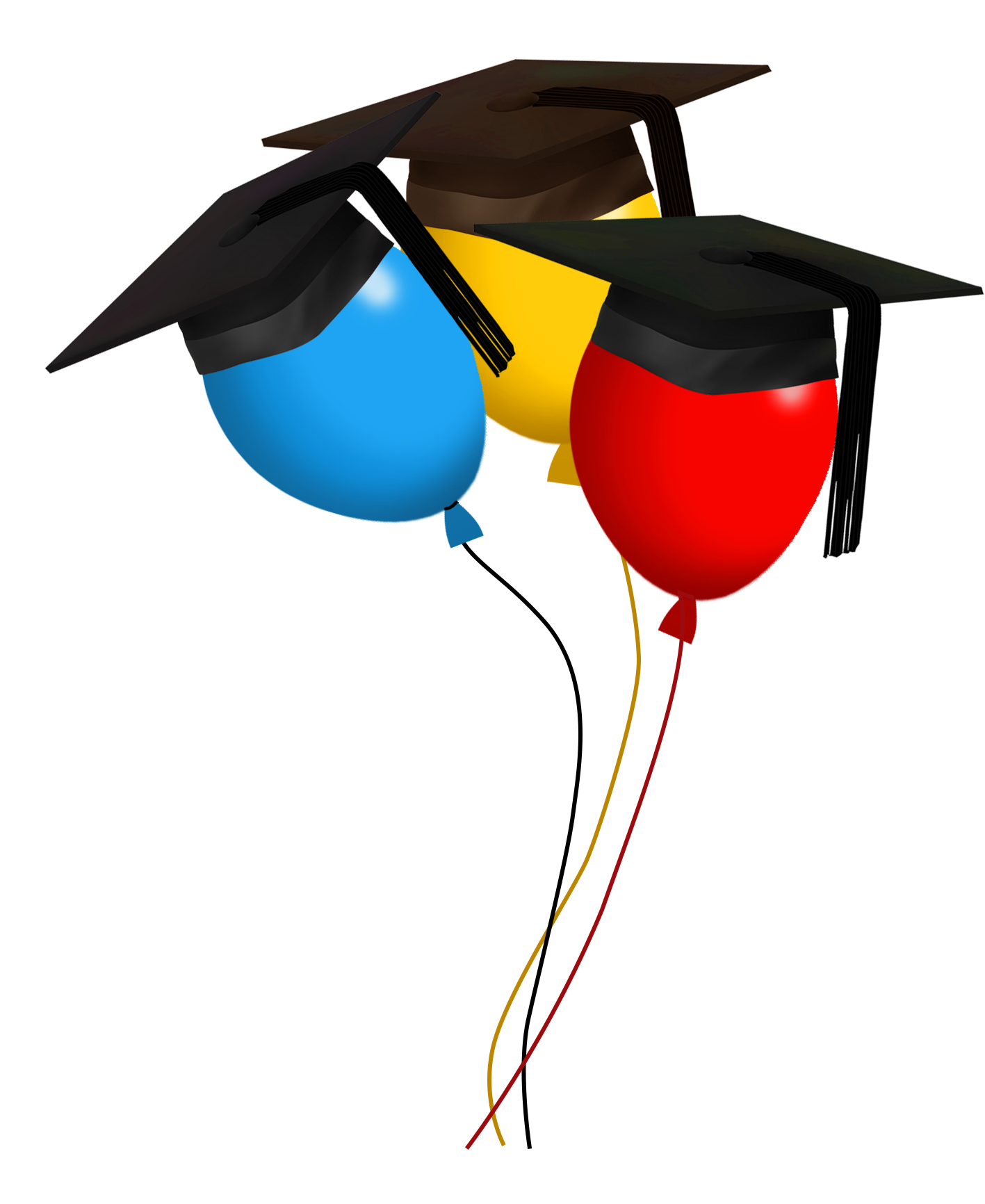 graduation day balloons red-blue-yellow