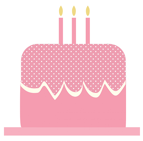 Pink birthday cake clip art with candles