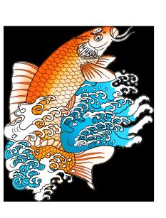 orange koi fish in waves