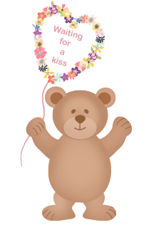 bear with flowers waiting for a kiss