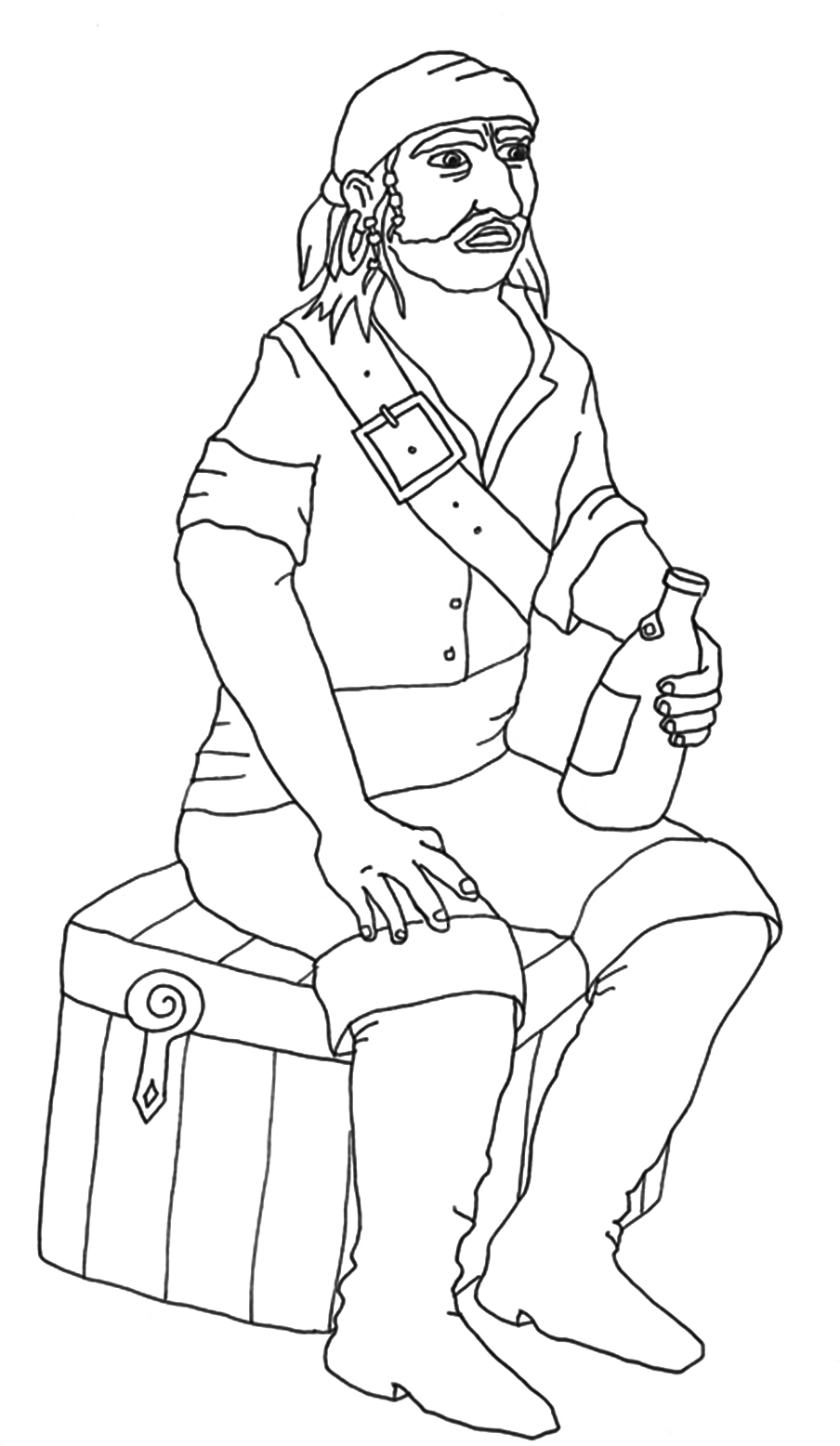 free coloring pages pirate with bottle