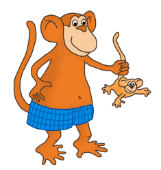 funny monkey clip art with young monkey