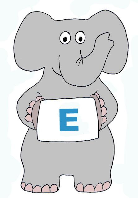 Elephant clip art with E letter