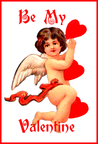 be my Valentine cupid with red hearts
