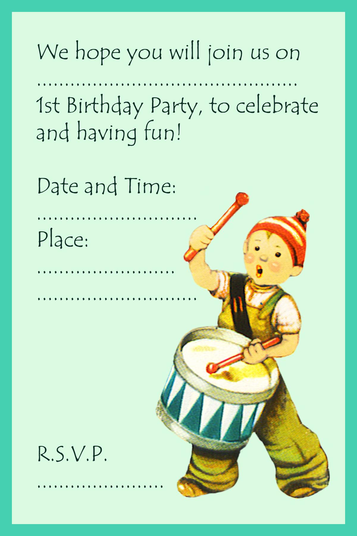 first birthday invitation boy with drummer