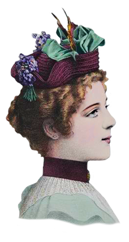 late Victorian fashion sketch of women's hat