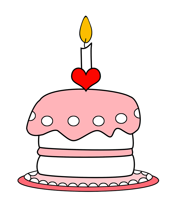 Pink Birthday Cake With One Candle