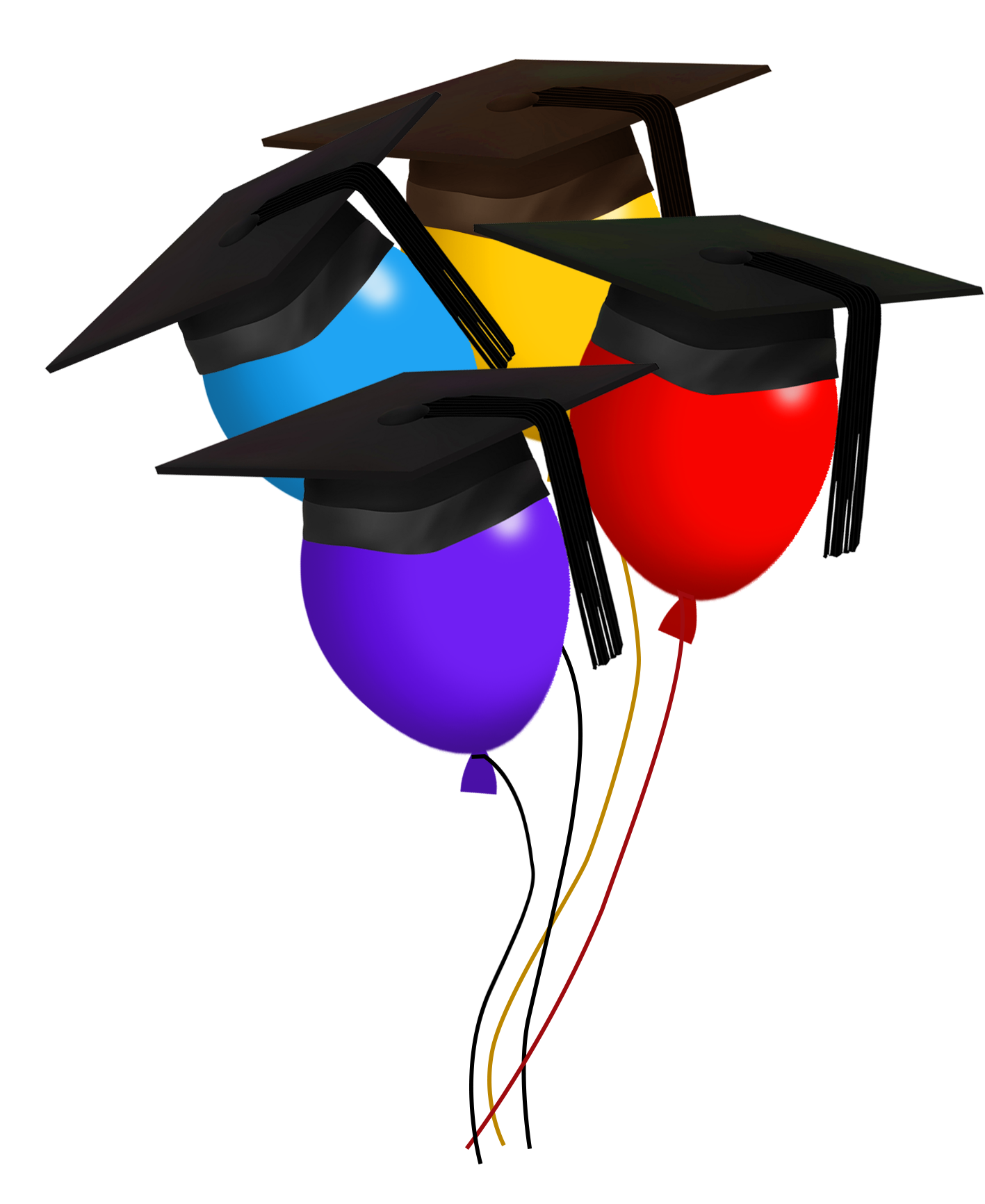 graduation day balloons with caps different colors