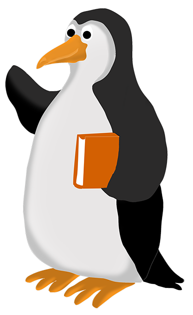 Penguin clipart with book