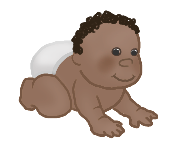 crawling baby clipart with curls