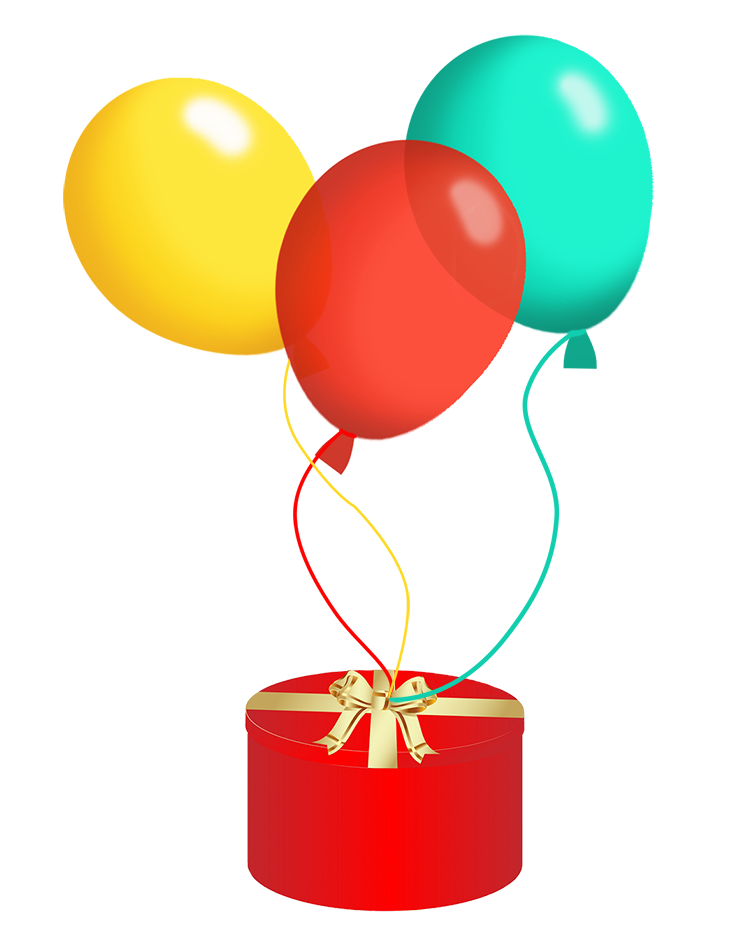 birthday balloons and present