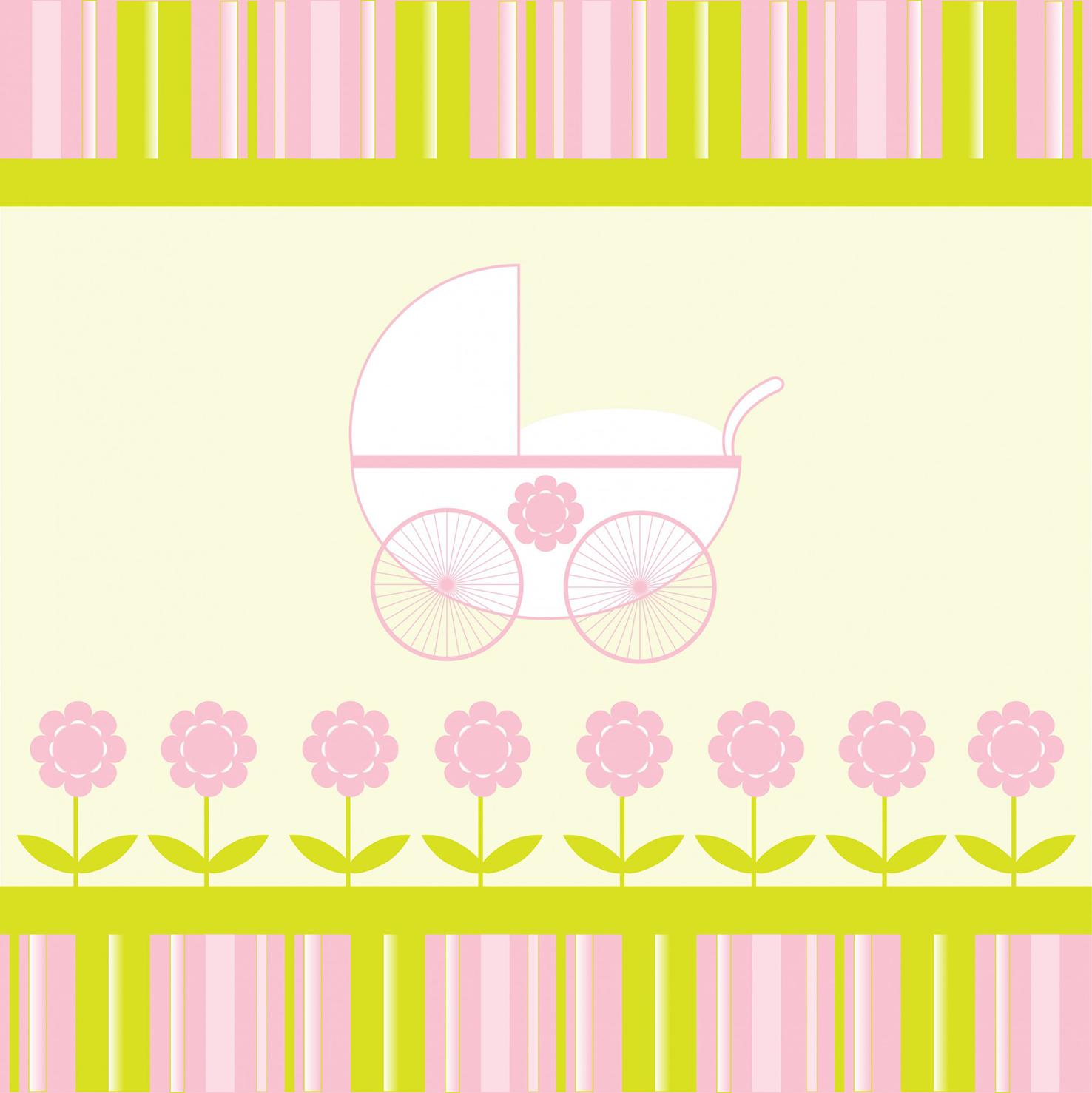 baby girl stroller card