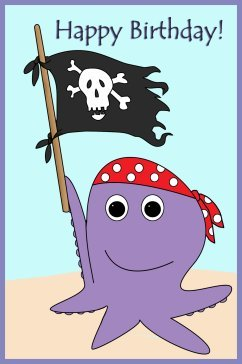 Birthday card with octopus and pirate flag