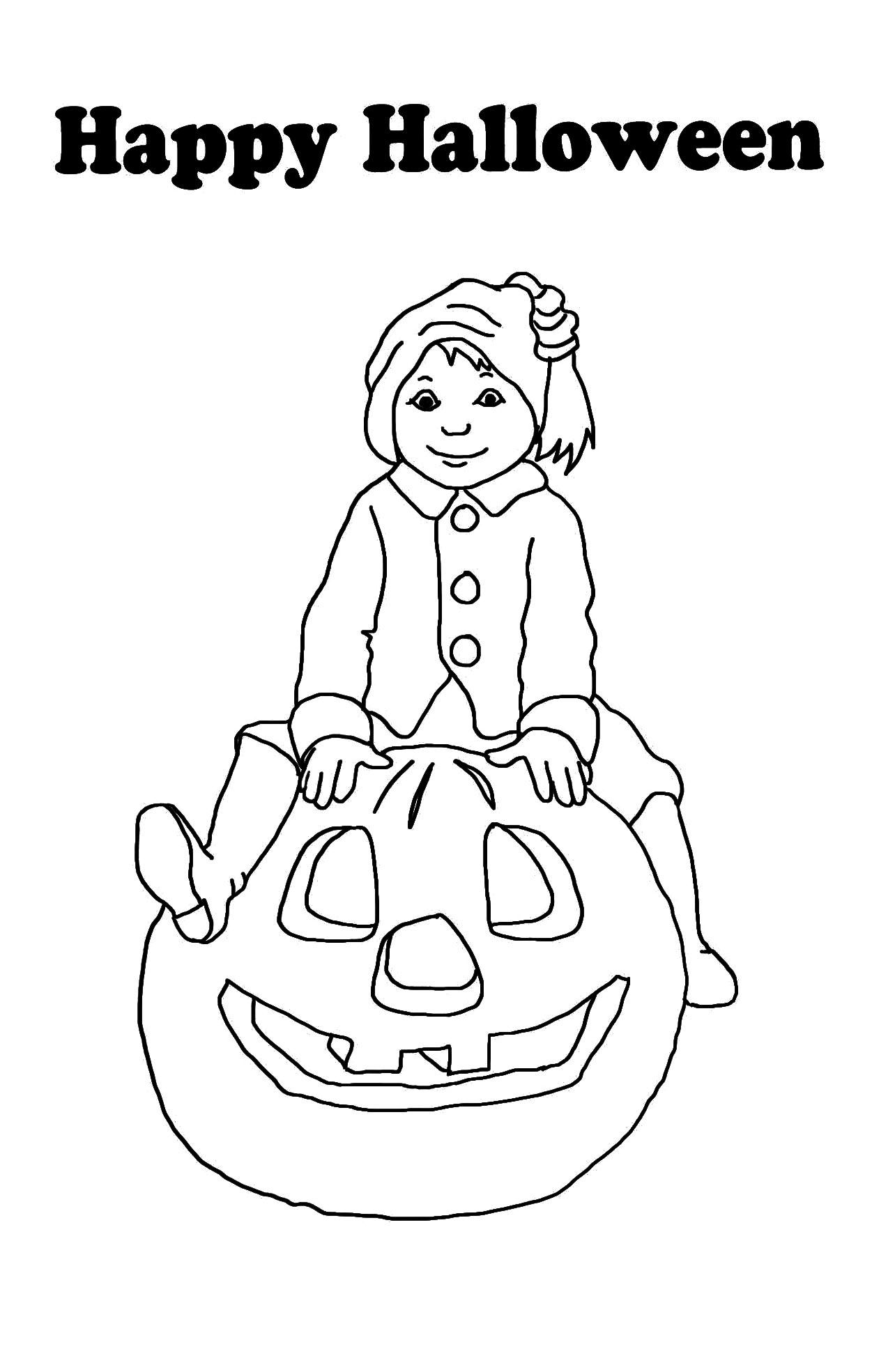 halloween card with boy and pumpkin