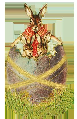 Evil Easter hares in eggshell
