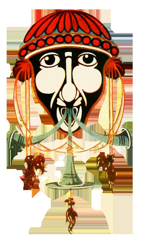 strange head art nouveau decoration